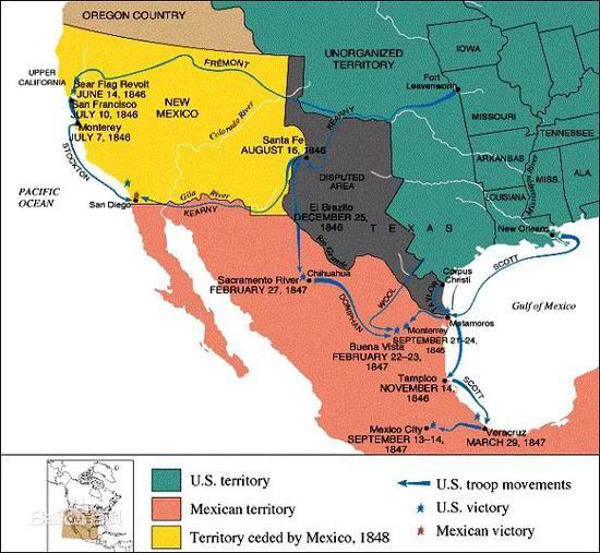 美墨战争(黄、灰区域为美国夺取的领土范围)