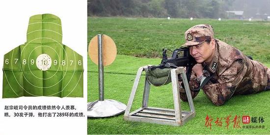 赵宗岐司令员在进行射击训练。 图片来源:中国军网
