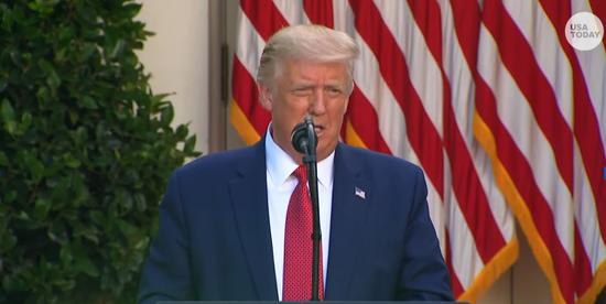 特朗普在白宫玫瑰园讲话/视频截图