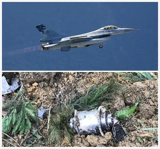 ▲上图为失事F-16战机的资料图,下图为坠毁后飞机的残骸。