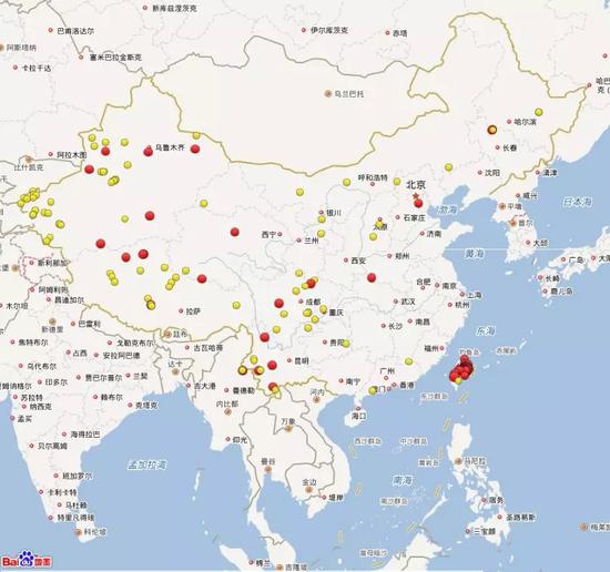 2018年1月1日到3月31日全国三级地震活动分布图(四级以上红色标注)