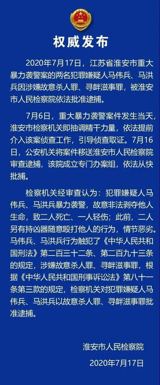 江苏淮安检察机关依法批准逮捕重大暴力袭警案犯罪嫌疑人图片