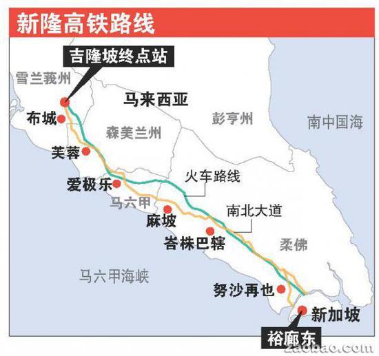 隆新高铁路线图 图片来源:联合早报