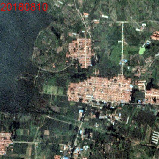 台风之前10日和台风之后21日变化动图,冶源水库的湖岸,光学图像