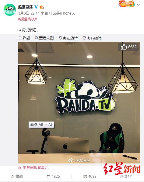 ↑熊猫直播官方微博