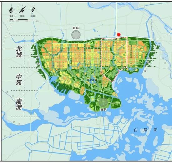 △这是雄安新区建设的起步区,规划建设用地100平方公里。上方红点标注的位置就是习近平这次去看的市民服务中心。(图片来源于《河北雄安新区规划纲要》)
