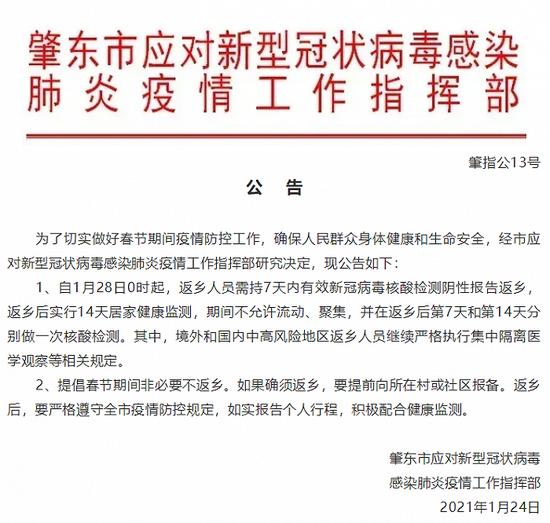 黑龙江肇东:28日0时起,返乡人员需持7天内核酸阴性报告,并进行14天居家健康监测