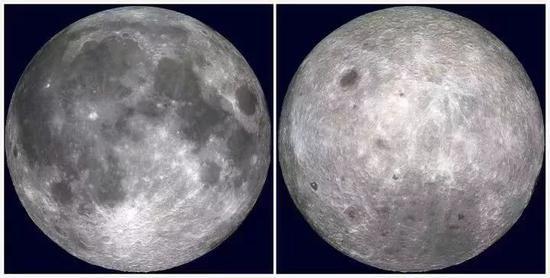 ▲左:月球正面 右:月球背面图源:NASA