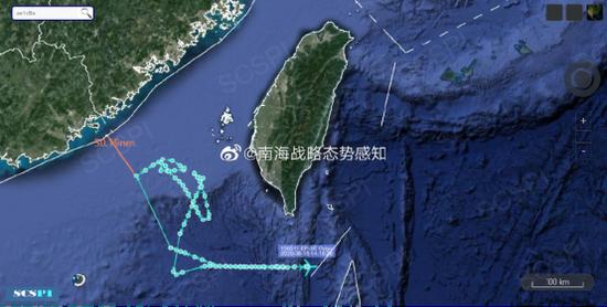 """""""南海战略态势感知计划""""平台发布的8月15日美军EP-3E电子侦察机飞行路线"""