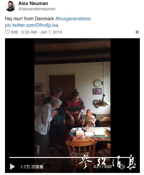 来自丹麦的网友带着刚出生的小宝宝拍下视频