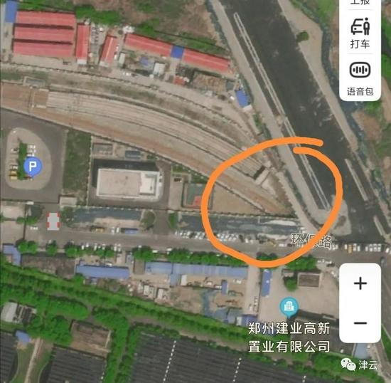 停车场出入线围墙被冲垮区域卫星图
