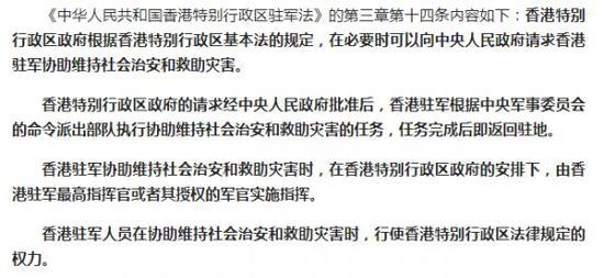 ▲《中華人民共和國香港特別行政區駐軍法》的第三章第十四條內容