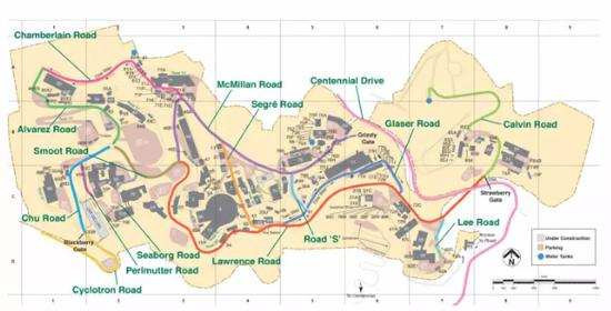 ▲劳伦斯伯克利国家实验室的地图,有多条街道以诺奖得主名字命名 图据《华尔街日报》