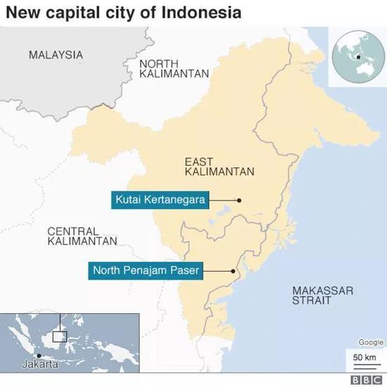 (图为印尼新首都位置,左下角小图中标注了现首都雅加达与新都的相对位置)