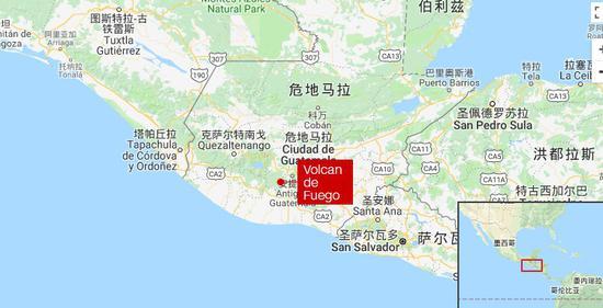 富埃戈火山 图中红点处
