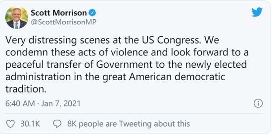 """未就国会骚乱事件批评特朗普,莫里森被批""""懦夫"""""""