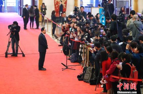 """资料图:3月13日,文化部部长雒树刚在""""部长通道""""接受媒体采访。中新社记者 富田 摄"""