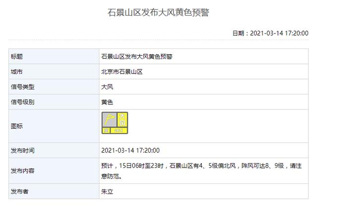 阵风可达8、9级!北京多区发布大风黄色预警图片