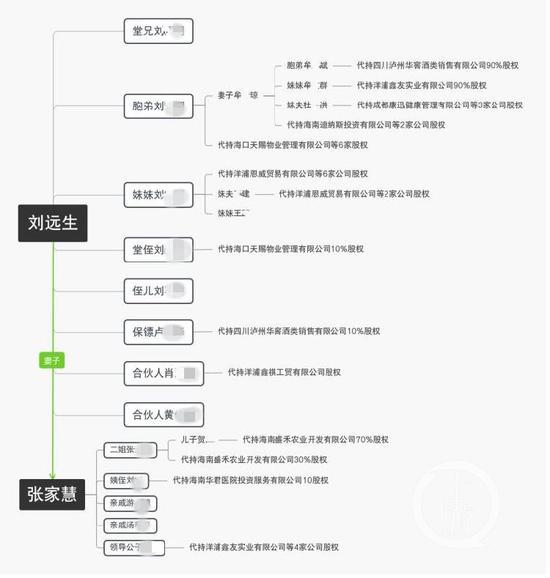 ▲舉報人梳理的張家慧、劉遠生夫婦親屬代持其資產情況圖。受訪者供圖