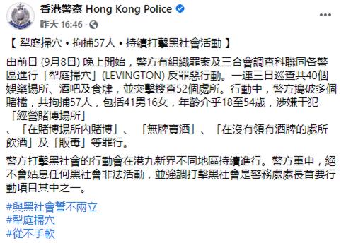 香港警方连续多日展开打击黑社会行动,共拘捕57人图片