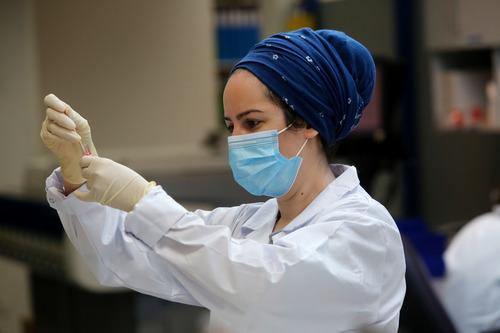 9月13日,在以色列中部城市奥尔耶胡达的一处实验室,技术人员进行新冠病毒血清学检测。新华社发(吉尔·科恩·马根摄)