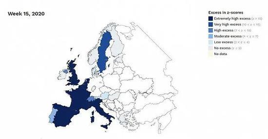 深蓝色为严重超额死亡。图片来源:EuroMOMO