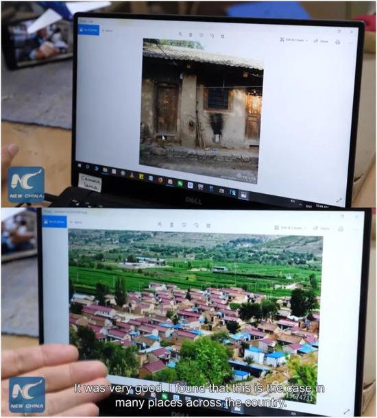 ▲潘維廉展示兩次旅行拍攝的照片。(新華社報道截圖)