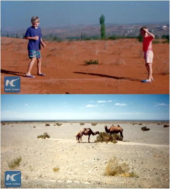 ▲潘维廉1994年拍摄的西北沙漠(新华社报道截图)