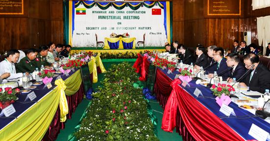 月8日,国务委员、公安部部长赵克志在内比都与缅甸内政部部长觉瑞举行会谈。