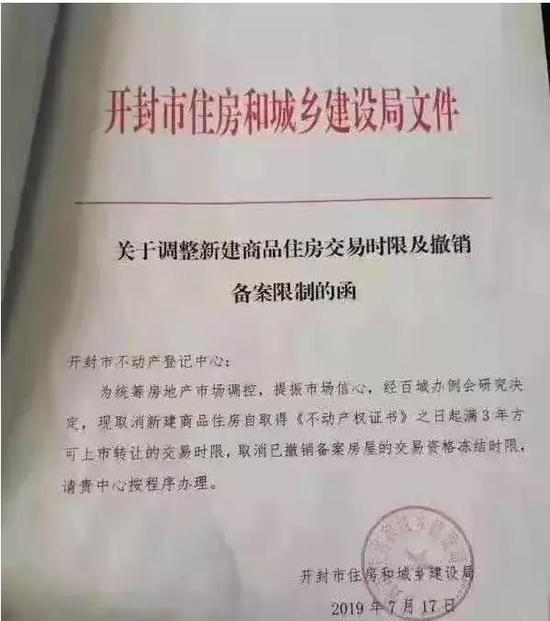 ▲开封市住房和城镇建设局先前曾公布红头文件,取消限售商住楼。