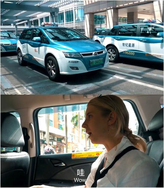 (Amy搭乘出租车前往民宿,视频截图。)