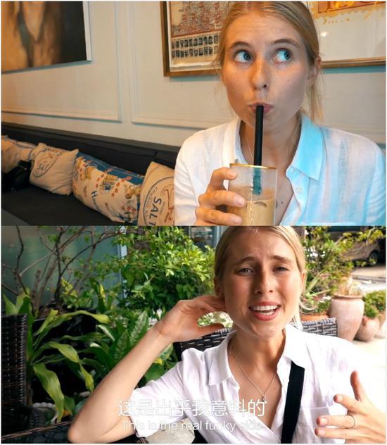 (Amy打卡咖啡馆,视频截图。)