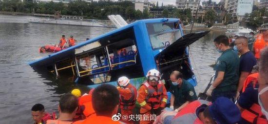 贵州安顺坠入水库公交,共搜救出36人,其中21人死亡图片