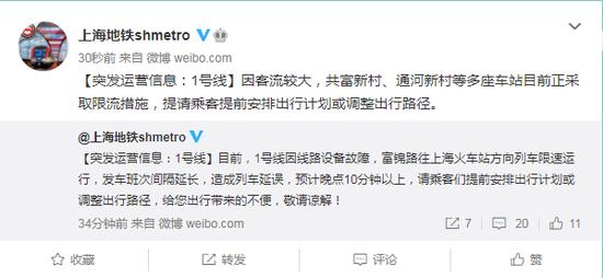 上海地铁1号线共富新村、通河新村等多座车站目前正采取限流措施图片