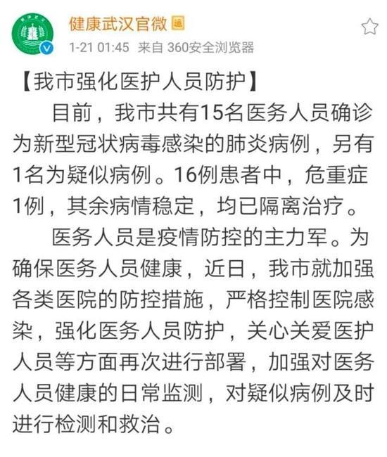 武汉市已有15名医务人员被确诊