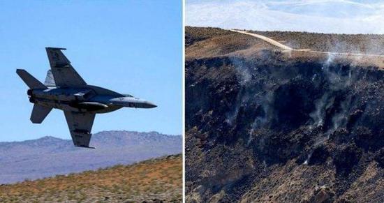 资料图片:美国军迷拍摄的坠毁前的F/A-18E战机(左)与坠毁后的现场照片(右)。(图片来源于网络)