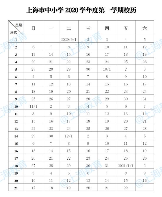 上海市中小学2020学年度校历公布:9月1日开学图片