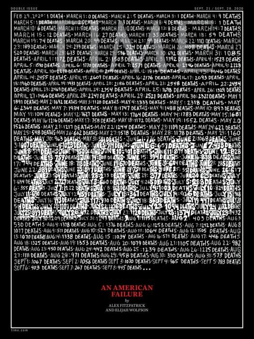 美新冠逝者近20万 《时代周刊》封面:美国式失败