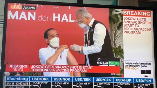 印尼总统佐科直播接种中国新冠疫苗(图)