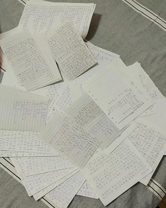 ▲学生看完视频或是做完事情后,写的感受。