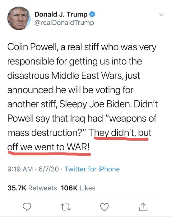 """特朗普泄密:美国打伊拉克的借口""""生化武器""""是编造的…"""