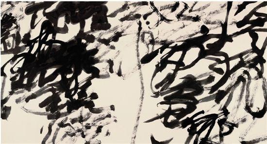 王冬龄乱书《江雨霏霏》。