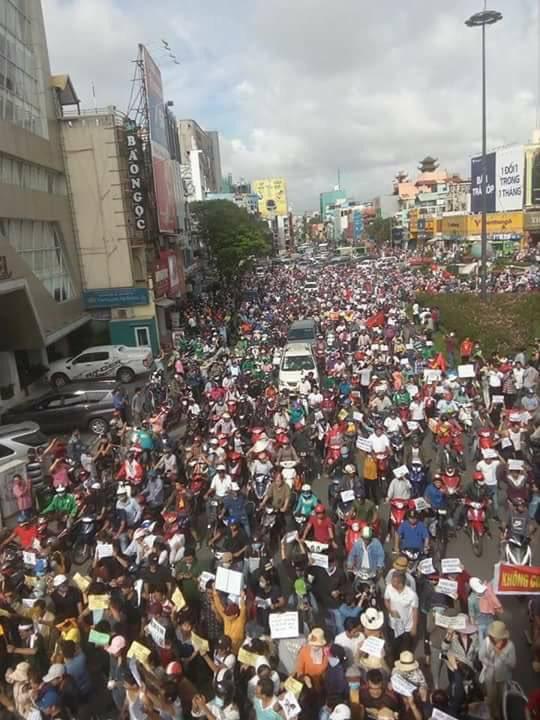 越南社交媒体上的抗议场面