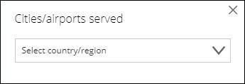 """机场选择显示的选项为""""国家/地区"""""""
