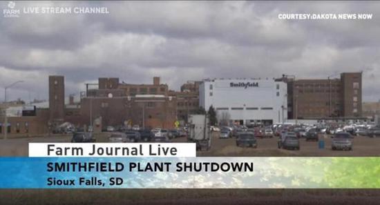 史女士菲尔德食物公司位于南达科他州的工场暴发了群集性疫情后歇工。Farm Journal视频截图