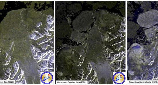 加拿大最后一个完整的北极冰架、米尔恩冰架解体。(图源:路透社)
