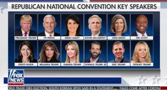 共和党全国代表大会12位重要演讲嘉宾。/福克斯新闻网截图