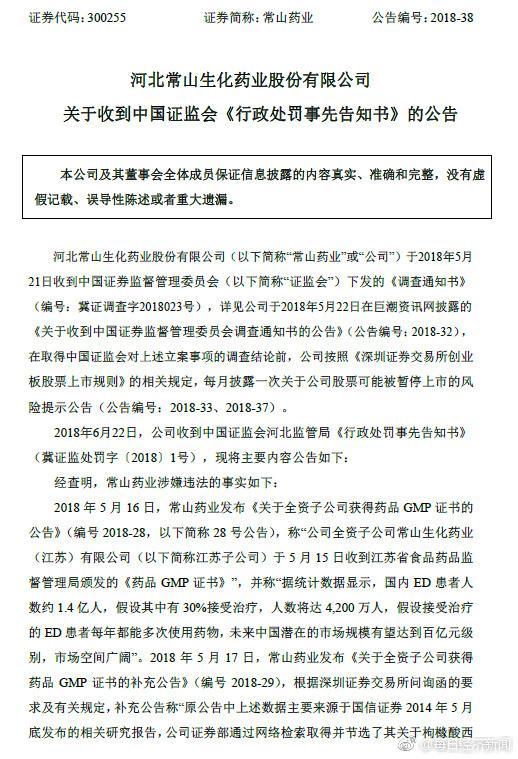 北京赛车刷水技巧:称国内阳痿患者人数约1.4亿后_常山药业被罚60万