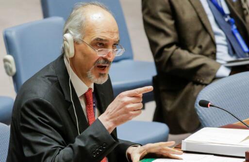 叙利亚驻联合国大使巴沙尔·贾法里13日向西方国家撂话。(图源:美媒)
