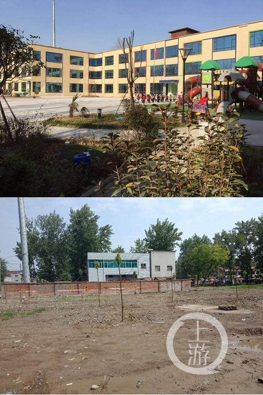 △李亚芳投资1300多万的鹿邑试量镇实验幼儿园光明新园拆除前后照片。